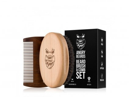 Set of brush and comb for beard